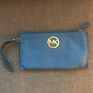 Michael Kors Large Leather Zip Clutch / Wristlet